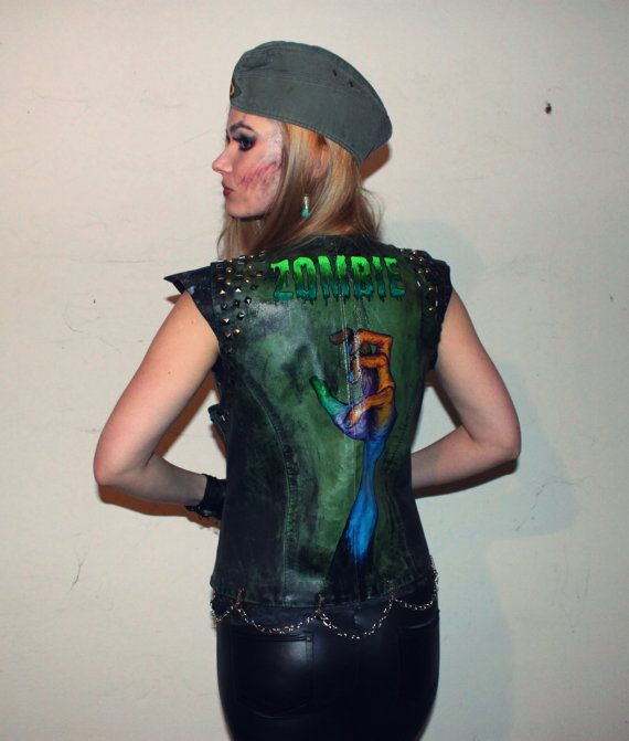 One of a kind green leather vest made with love to post apocalypse, The Walking Dead, and zombies. Completly hand made and leather has been