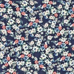 Vævet viscose navy med små blomster