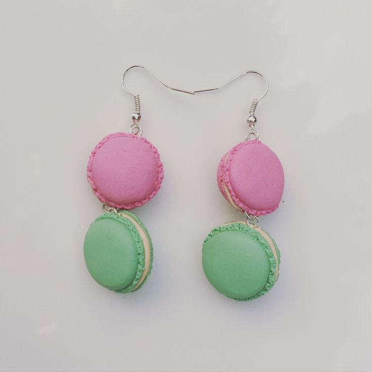Handmade mini macaron earrings polymer clay pink and mint green by FraaiStudio on Etsy