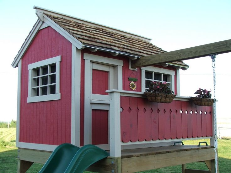 Product review for backyard playhouse plan rated 4 stars for Wooden playhouse with garage