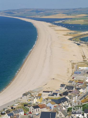 View of Chesil Beach from Portland, Dorset, England, United Kingdom Photographic Print