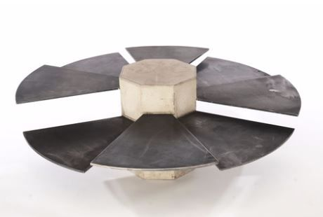 Steel Fan Coffee Table by James De Wulf - concrete & steel plates. A bit reminiscent of a spiral staircase, too.