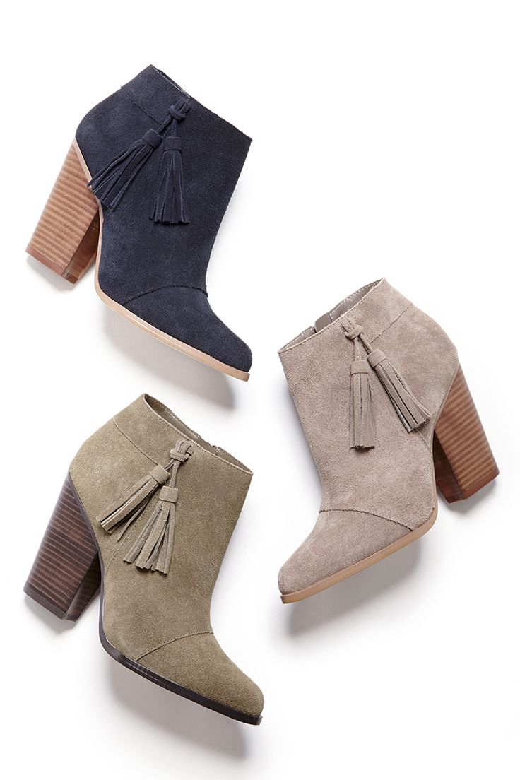 Suede booties with swingy tassels & stacked heels | Sole Society Talisha