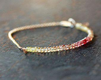 Ombre Bracelet Pink Sapphire Bracelet Beaded by ShopClementine