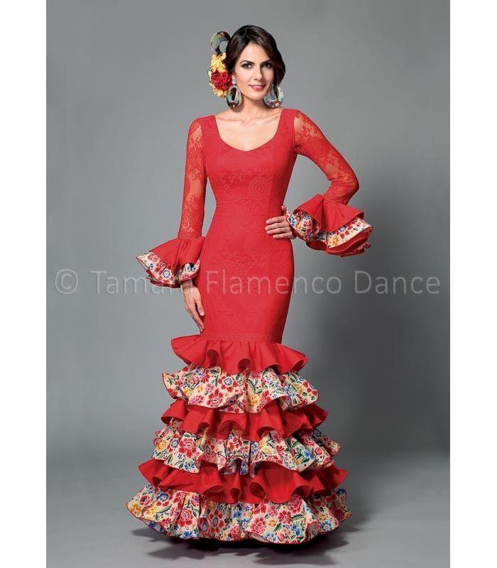 trajes de flamenca 2016 mujer - Aires de Feria - Dalia rojo y flores