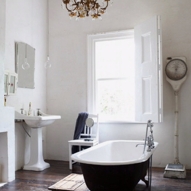 Gorgeous industrial chic bathroom.