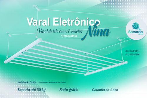 Varal Eletrônico Nina - SóVarais Suporta até 30kg - Frete Grátis - Garantia de 1 ano. *** instalação Gratuita ( válido para a cidade de São Paulo ) www.sovarais.com.br Solicite um orçamento: (11) 3231-3144 (11) 3151-5284 (11) 3214-1886 SAC (11) 3255-9021