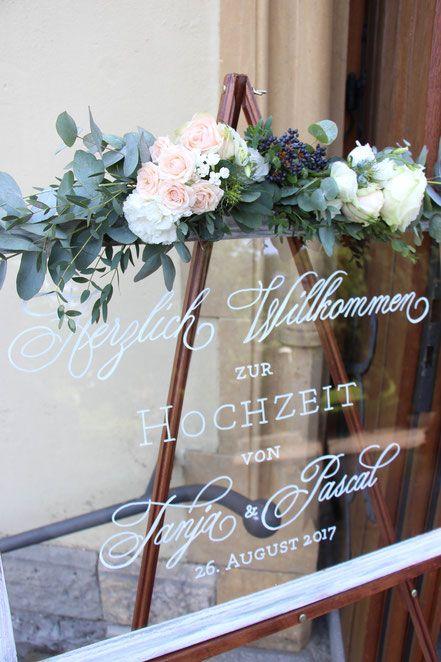 Hochzeitsschild Willkommensschild Glasschild Kirchliche Trauung