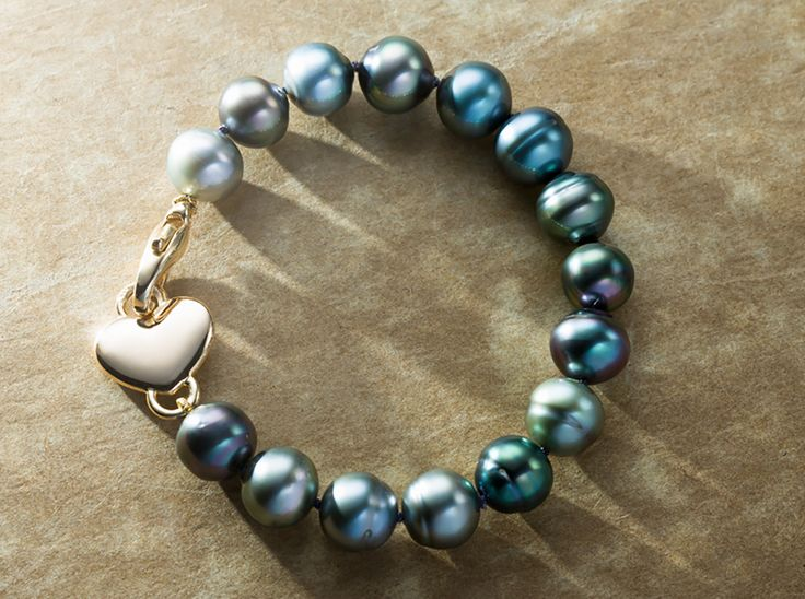 A Tahitian Pearl Bracelet with Gold Heart