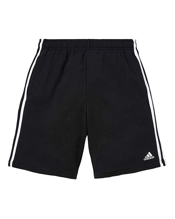 adidas Essential 3-Stripe Fleece Shorts: adidas Essential fleece knee-length shorts in a soft cotton blend jersey. Two side pockets and…