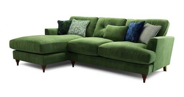 Patterdale Velvet Left Hand Facing Small Chaise Sofa Patterdale Velvet In 2020 Small Chaise Sofa Chaise Sofa Green Sofa