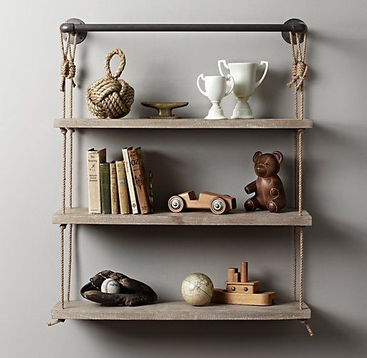 Industrial Pipe & Rope Shelf | Wall Storage | Restoration Hardware Baby & Child