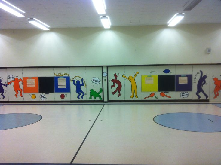 Easy wall mural in gym using p e standard words for Easy wall mural