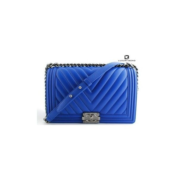 Chanel Le Boy New Medium Size Wide Chevron Bright Calf Leather 16c... ❤ liked on Polyvore featuring bags, handbags, shoulder bags, blue shoulder bag, shoulder handbags, calfskin handbag, blue purse and chevron purses