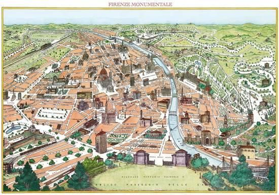 Firenze Monumentale- Antique Map Of Florence Posters at AllPosters.com