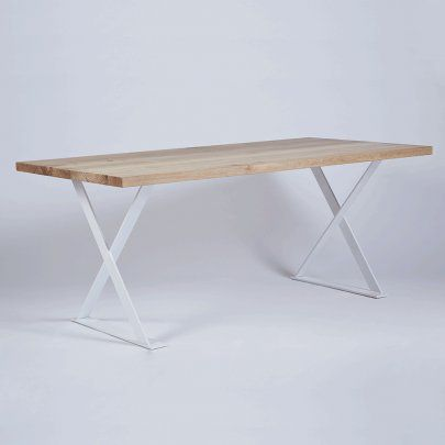 The Alexandria Dining Table-White Steel Legs