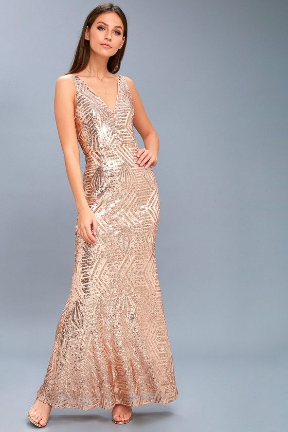 656f9956121 Live your fairy tale in the Canterbury Rose Gold Sequin Maxi Dress!  Stunning rose gold sequins and sheer mesh create an eye-catching pattern  across a knit ...
