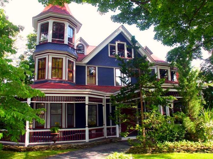 Best Victorian Homes In Minimalist Look Dark Blue Wall Red Roof Victorian Homes Home Styles I Love 400 x 300