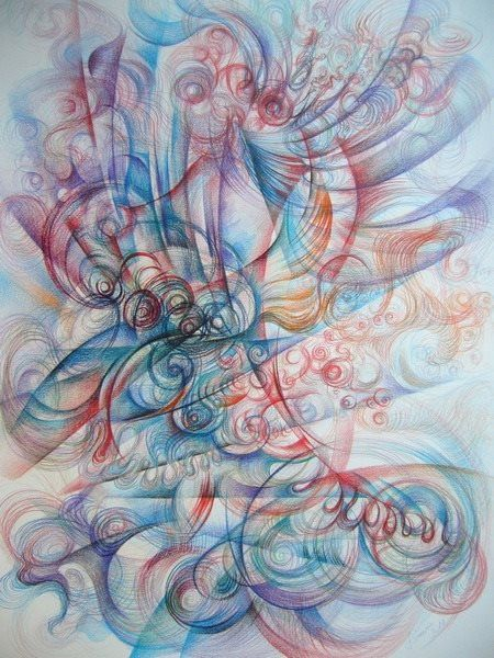 Dinamic composition- colored pencils on paper, 70/50 cm, 2010, Derecichei Simona Mihaela