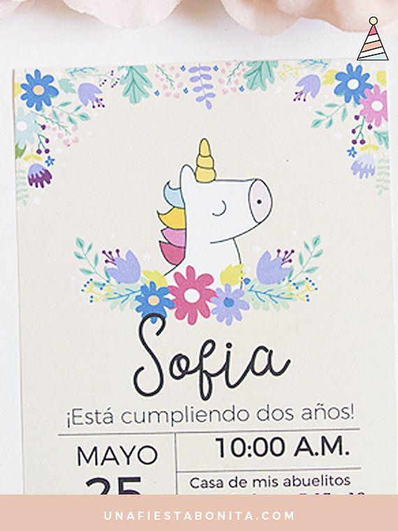 Invitación unicornio primavera