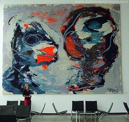 """Custom Made Abstract Hand Tufted Wall Hanging """"Two Personages"""" - Karel Appel"""