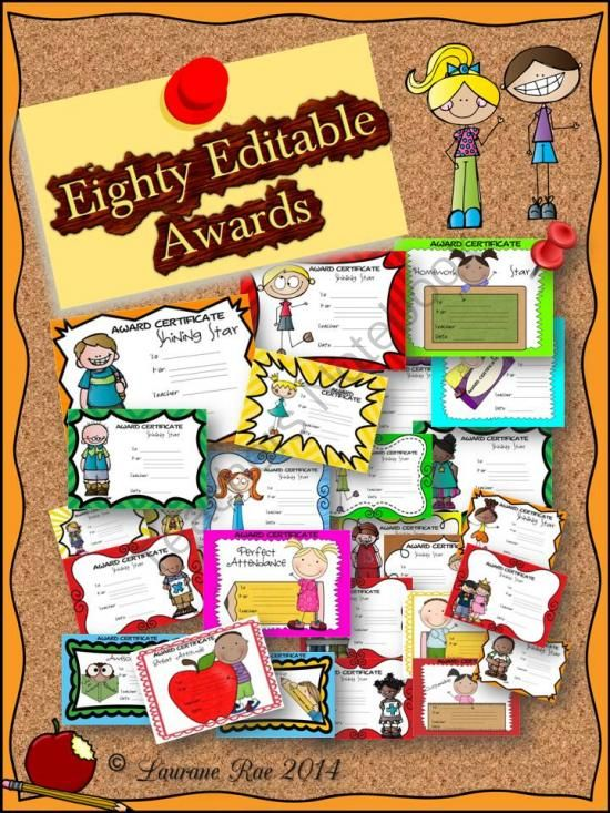 EIGHTY EDITABLE AWARDS Back to School, End of Term from TeachToTell on TeachersNotebook.com -  (84 pages)  - As educationists, our ultimate goal is to get our students intrinsically motivated.