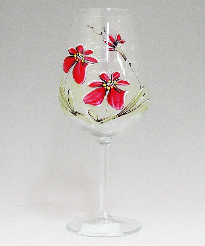 Coupe (490 ml) : : Fleurs rouges  *** Produit peint à la main.