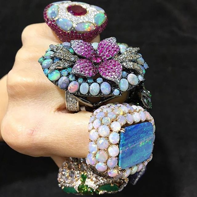 Gorgeous✨✨✨ #repost @wendyyuejewellery Now showing at the Hong Kong Int'l Jewellery & Gem Fair - 1C134. #WendyYue #philosophy #design #finejewelry #ring #rings #ringparty #ringsofinstagram #opal #boulderopal #australianopal #bigrings #gem #gems #gemstones #ruby #diamond #diamonds gold #finejewellery #hongkong #hongkonggemshow #flower #flowerjewelty #blooms