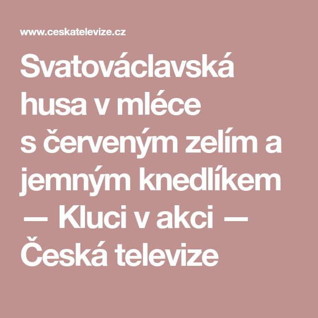 Svatováclavská husa vmléce sčerveným zelím a jemným knedlíkem — Kluci v akci — Česká televize
