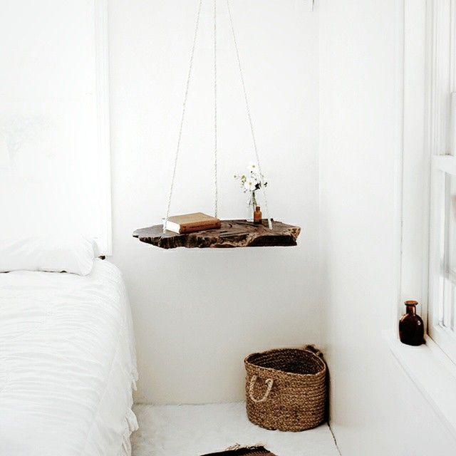 """""""100% yes to a suspended nightstand. @themerrythought #hangitall #interiordesign"""""""