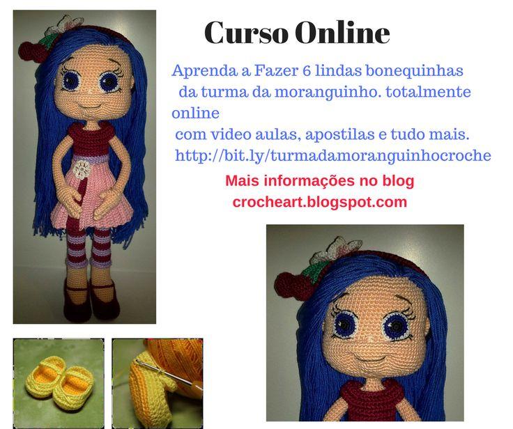 Curso online turma da moranguinho  Amigurumi croche, bonequinhas croche