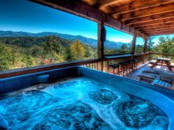Gorgeous views from Lands Creek Lookout's hot tub.  Bryson City Cabin Rentals - Bryson City, NC