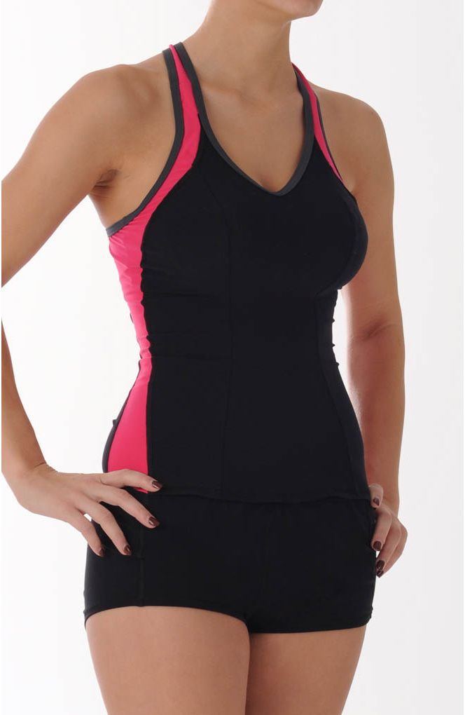 Underwire Tankini!!!! The pink stripes on the sides are slimming! You should see the back, it's perfect for giving extra support to your chest.