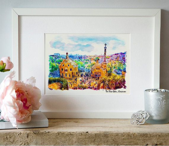 The Park Guell Barcelona Watercolor painting Wall by Artsyndrome