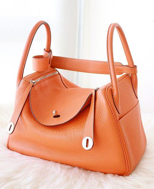 Hermes orange Lindy bag.