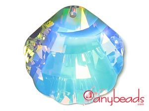 Austrian Swarovski Crystal Elements 6723 Seashell Pendant 28mm - Crystal AB