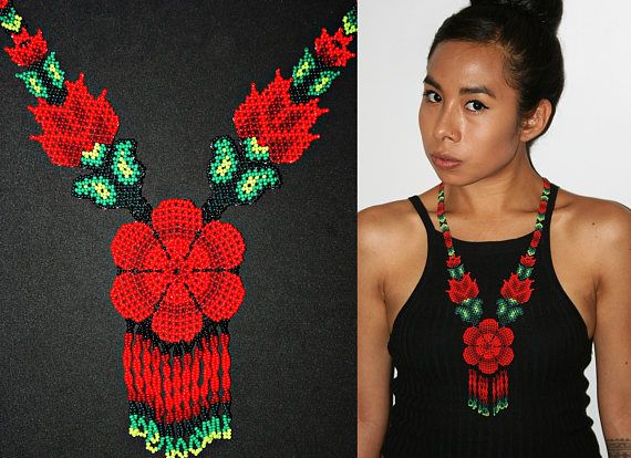 Traditional Huichol Beadwork Necklace Red Flower Necklace