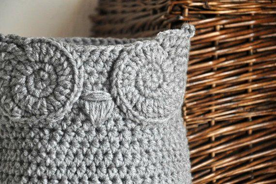 MADE TO ORDER Grey Owl Basket Crocheted Bin Yarn Holder Nursery Decor Home Organizer