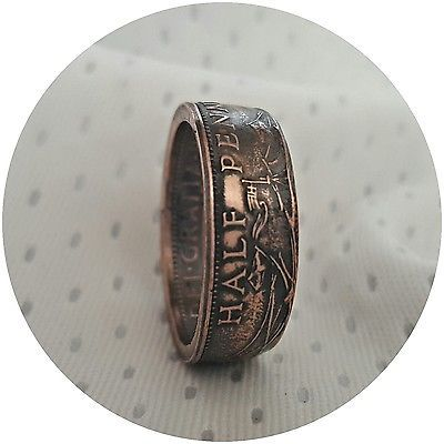 British  Half penny Coin Ring, various sizes