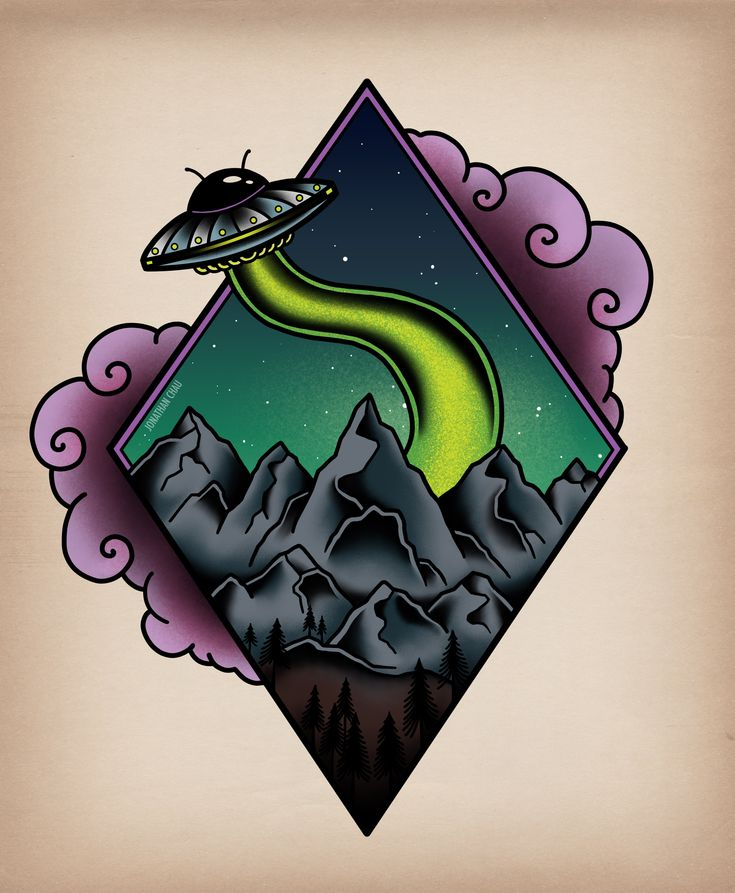 Geometric alien traditional tattoo art
