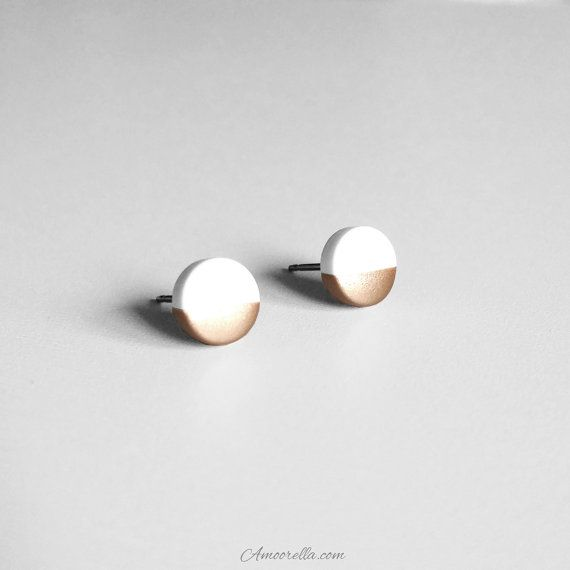 White Circle Stud Earrings Handmade out of clay and Dipped in Rose Gold