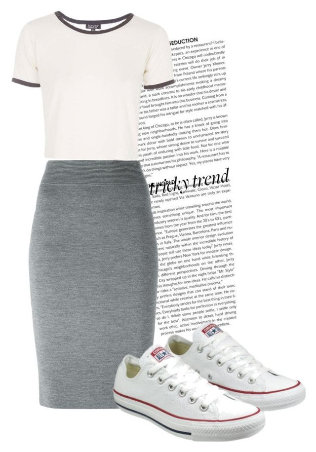 """""""Tricky Trend: Pencil Skirt with Sneakers"""" by luvou ❤ liked on Polyvore featuring Alexander McQueen, Topshop, Converse and TrickyTrend"""