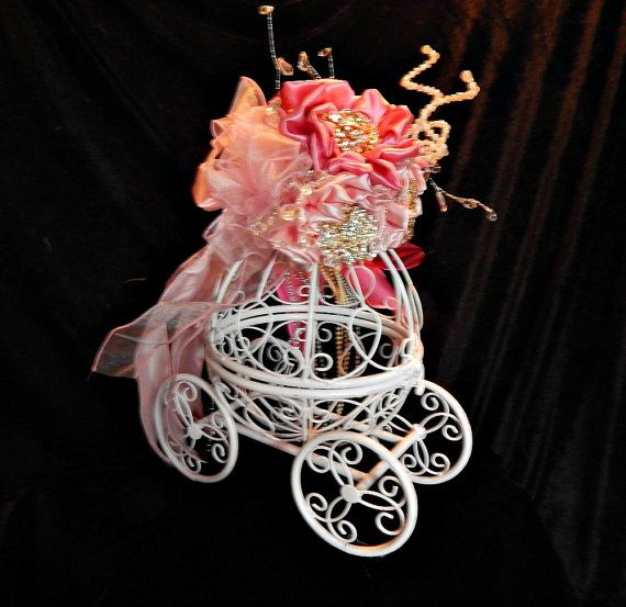 Baptism centerpiece of Cinderella carriage or by thealteredchick