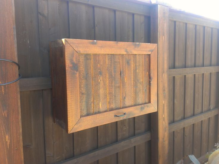 Gorgeous Teak Wood Flip Top Single Door Outdoor Tv Cabinet Attach At Wooden Gate Fences As Security TV Storage Patio Furnishing Ideas