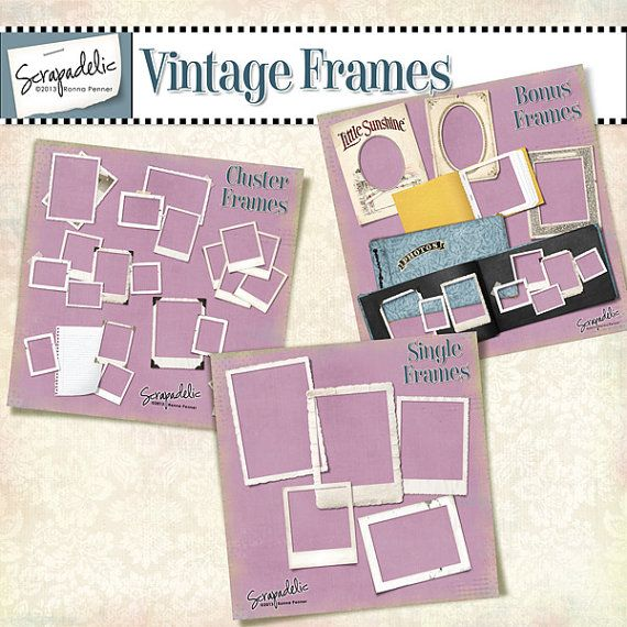 """""""Vintage Frames"""" digital scrapbooking elements by Scrapadelic, $5.99.  Instant downloads now available on Etsy!"""