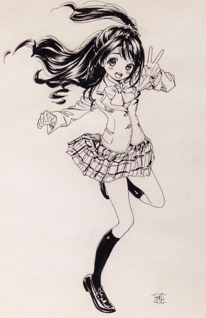 卯月ちゃん! 渋谷さんとの兼ね合いもあるけど卯月ちゃんの魅力はしっかり眉毛だと思うのでモノクロでは黒ベタの髪にしました。しっかり眉かわいい…