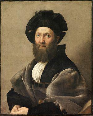 Ritratto di Baldassarre Castiglione AutoreRaffaello Sanzio Data1514-1515 circa Tecnicaolio su tela Dimensioni82 cm × 67 cm  UbicazioneMuseo del Louvre, Lens