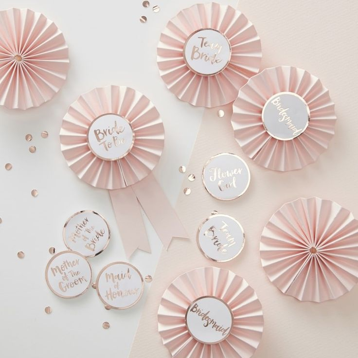 Pink & Rose Gold Bachelorette Party Badges - Team Bride