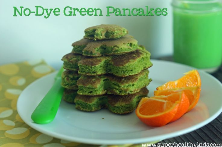 Green pancakes! #greens4kids #healthybreakfast  ::    4 cups spinach leaves 2 large eggs 1 Tbsp melted coconut oil 1 tsp vanilla extract 2 Tbsp Honey (or preferred sweetener) 1/2 cup plain (or vanilla) Greek yogurt 1/4 cup milk (plus more if needed) Blend together in a high powered blender until very smooth and frothy.   In another bowl combine:  1 1/2 c. flour 1 1/2 tsp. baking powder 1/2 tsp. salt
