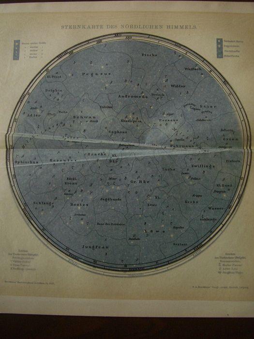 ドイツアンティーク/クロモリトグラフ/北天の星図